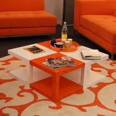 La table basse pop orange interieur decoration - Comment lire la table de la loi normale ...